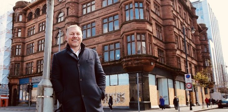 Lawrence Kenwright outside the George Best Hotel